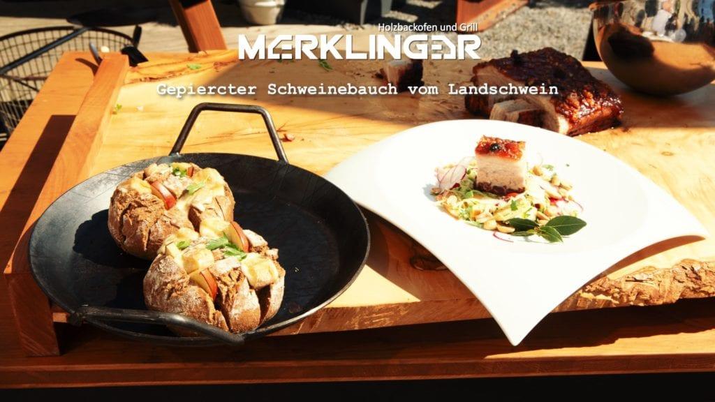 Merklinger Holzbackofen Grill Pizzaofen Brotbackofen Rezept Schweinebauch vom Landschwein