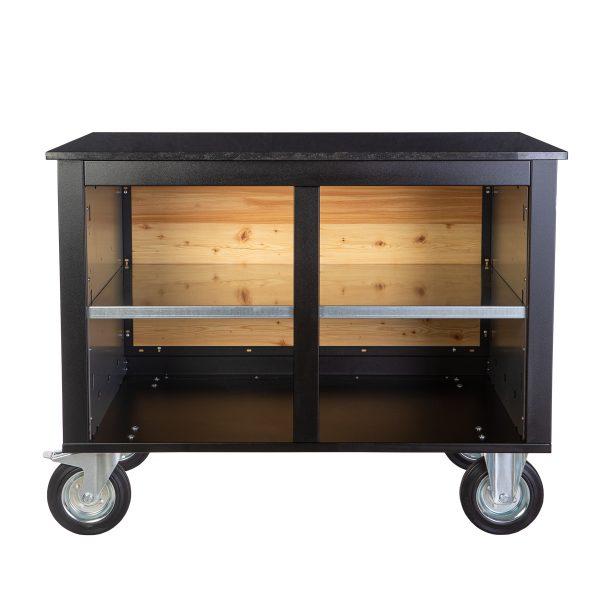 Merklinger Holzbackofen Grill Pizzaofen Brotbackofen mobiler Seitentisch mit Granit und einer Ablage ohne Zubehör