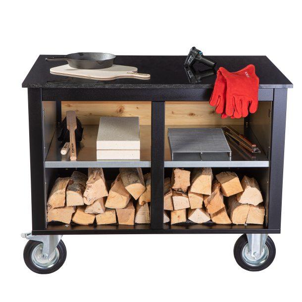 Merklinger Holzbackofen Grill Pizzaofen Brotbackofen mobiler Seitentisch mit Granit und einer Ablage mit Zubehör