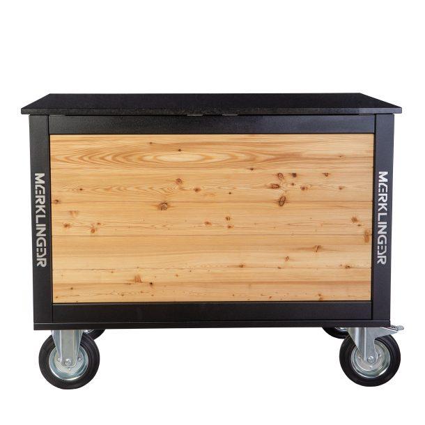 Merklinger Holzbackofen Grill Pizzaofen Brotbackofen mobiler Seitentisch mit Granit von hinten