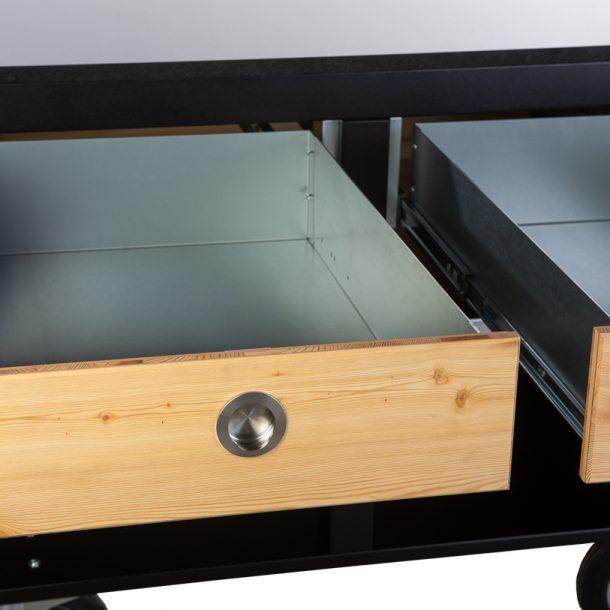 Merklinger Holzbackofen Grill Pizzaofen Brotbackofen mobiler Seitentisch mit Granit und zwei offenen Schubladen ohne Zubehör
