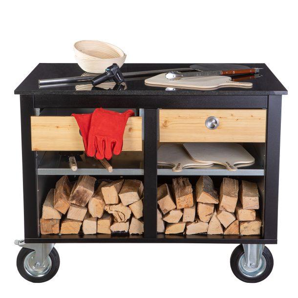 Merklinger Holzbackofen Grill Pizzaofen Brotbackofen mobiler Seitentisch mit Granit und zwei Schubladen mit Zubehör
