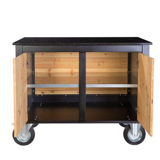Merklinger Holzbackofen Grill Pizzaofen Brotbackofen mobiler Seitentisch mit Granit und zwei offenen Türen ohne Zubehör