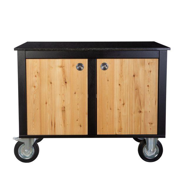 Merklinger Holzbackofen Grill Pizzaofen Brotbackofen mobiler Seitentisch mit Granit und zwei geschlossenen Türen ohne Zubehör
