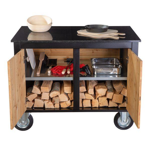 Merklinger Holzbackofen Grill Pizzaofen Brotbackofen mobiler Seitentisch mit Granit und zwei offenen Türen mit Zubehör