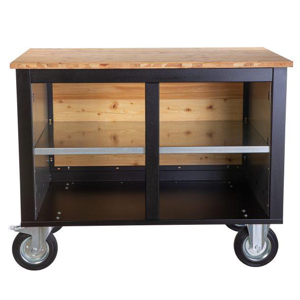 Merklinger Holzbackofen Grill Pizzaofen Brotbackofen mobiler Seitentisch mit Holz und einer Ablage ohne Zubehör