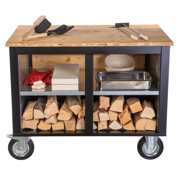Merklinger Holzbackofen Grill Pizzaofen Brotbackofen mobiler Seitentisch mit Holz und einer Ablage mit Zubehör