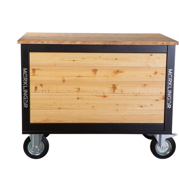 Merklinger Holzbackofen Grill Pizzaofen Brotbackofen mobiler Seitentisch mit Holz von hinten