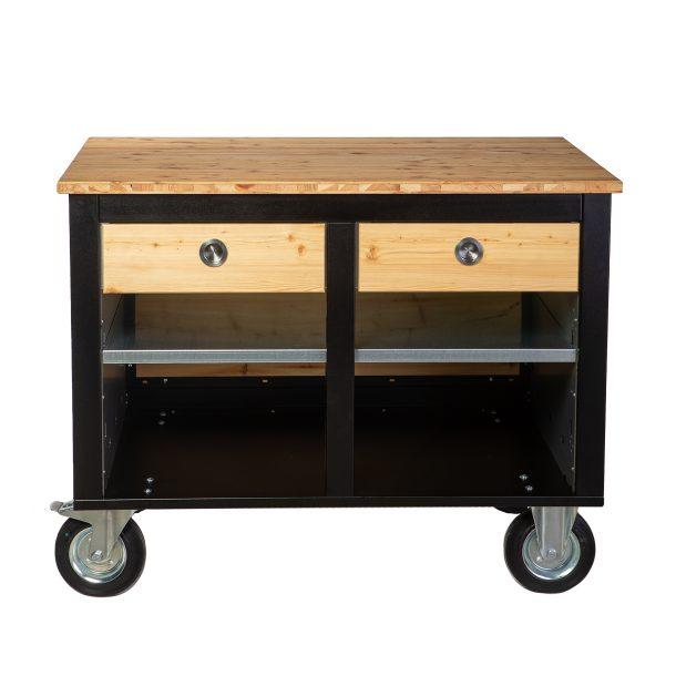 Merklinger Holzbackofen Grill Pizzaofen Brotbackofen mobiler Seitentisch mit Holz und zwei geschlossenen Schubladen