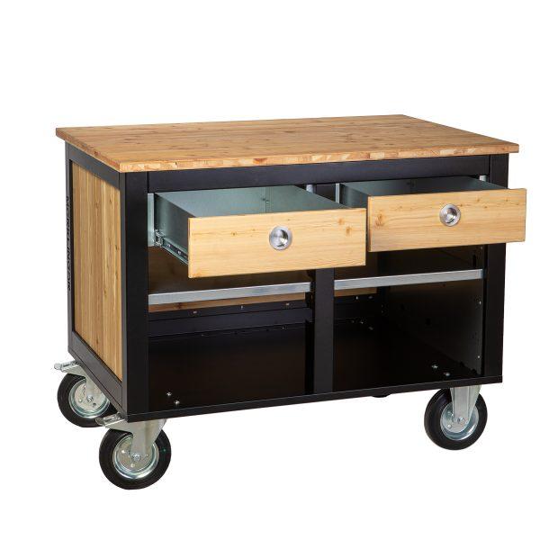 Merklinger Holzbackofen Grill Pizzaofen Brotbackofen mobiler Seitentisch mit Holz und zwei offenen Schubladen
