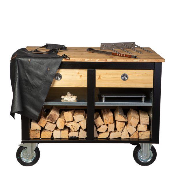 Merklinger Holzbackofen Grill Pizzaofen Brotbackofen mobiler Seitentisch mit Holz und zwei Schubladen und Zubehör