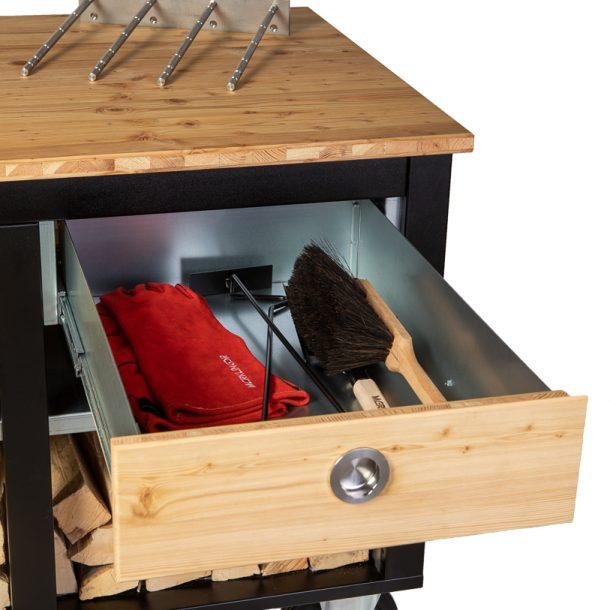 Merklinger Holzbackofen Grill Pizzaofen Brotbackofen mobiler Seitentisch mit Holz und einer offenen Schublade