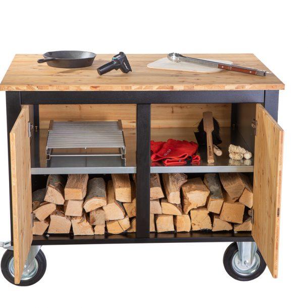 Merklinger Holzbackofen Grill Pizzaofen Brotbackofen mobiler Seitentisch mit Holz und zwei Türen mit Zubehör